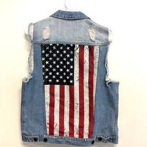 KITTENISH American Flag Denim Vest